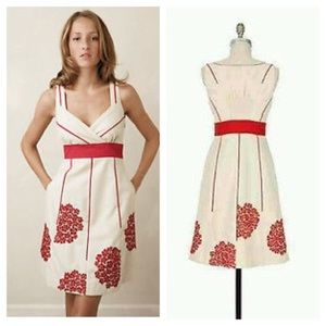 Anthro /Floreat  Red Embroidered Flower Trim Dress